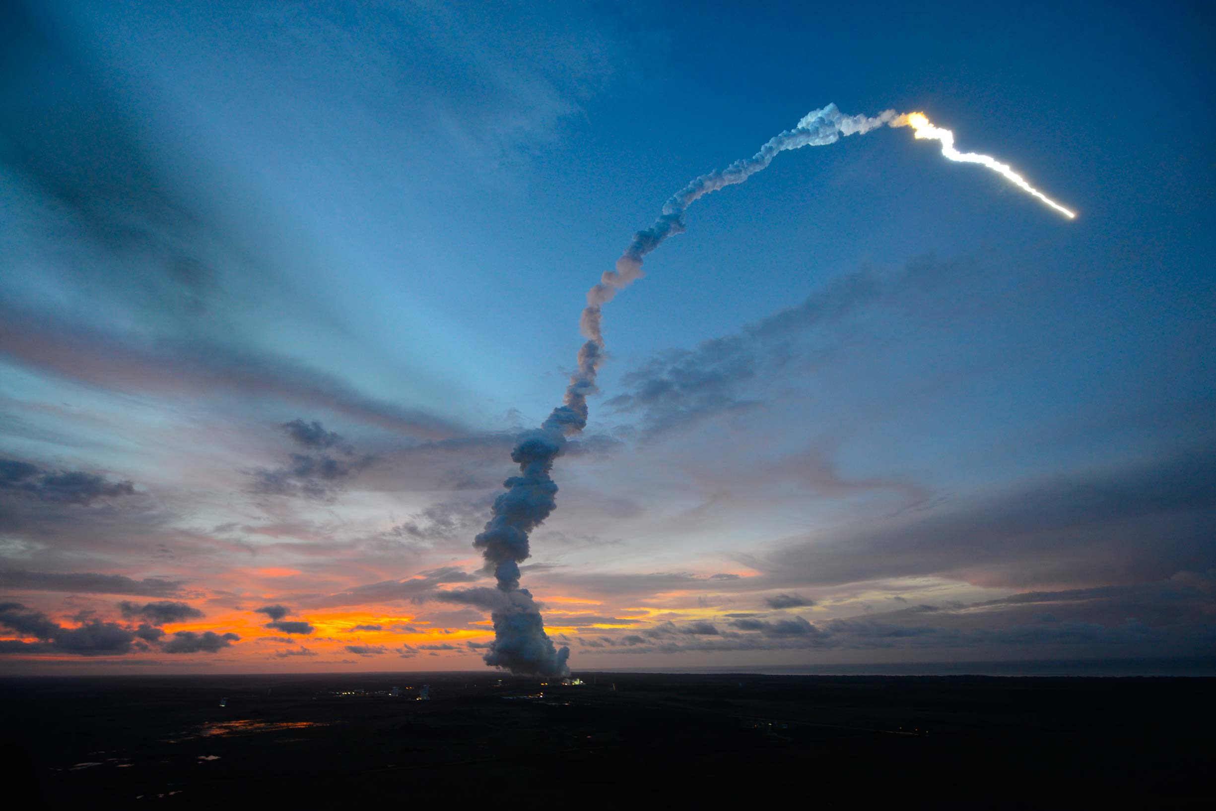 """""""ATV-4 Albert Einstein lifts off from Kourou (1)"""" by DLR German Aerospace Center; ESA/S. Corvaja - Ariane 5 / ATV-4 """"Albert Einstein"""". Licensed under CC BY 2.0 via Wikimedia Commons - https://commons.wikimedia.org/wiki/File:ATV-4_Albert_Einstein_lifts_off_from_Kourou_(1).jpg#/media/File:ATV-4_Albert_Einstein_lifts_off_from_Kourou_(1).jpg"""