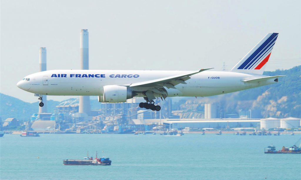 """Air France Cargo Boeing 777F; F-GUOB@HKG;04.08.2011 615ws (6260136071)"" by Aero Icarus from Zürich, Switzerland - Air France Cargo Boeing 777F; F-GUOB@HKG;04.08.2011/615ws. Licensed under CC BY-SA 2.0 via Wikimedia Commons."