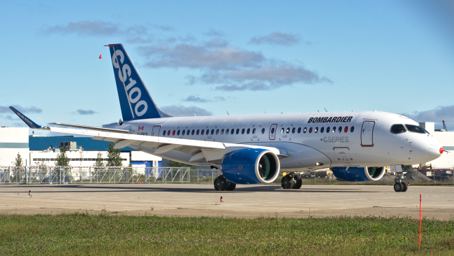 """CSeries au roulage vers la piste 06 a mirabel pour son premier vol"" by Yan Gouger - Own work. Licensed under CC BY-SA 3.0 via Wikimedia Commons - https://commons.wikimedia.org/wiki/File:CSeries_au_roulage_vers_la_piste_06_a_mirabel_pour_son_premier_vol.png#/media/File:CSeries_au_roulage_vers_la_piste_06_a_mirabel_pour_son_premier_vol.png"