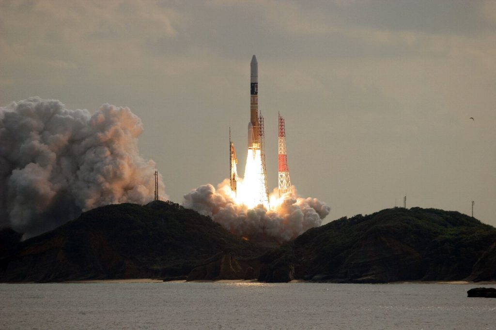 """H-IIA F26 launching Hayabusa-2"" by NORIHIDE SAITOU - Own work. Licensed under CC BY-SA 4.0 via Wikimedia Commons."