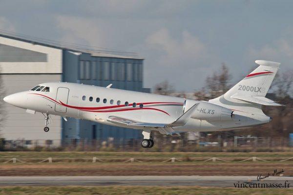 Retour de vol d'un Falcon 2000 LXS à Bordeaux Mérignac
