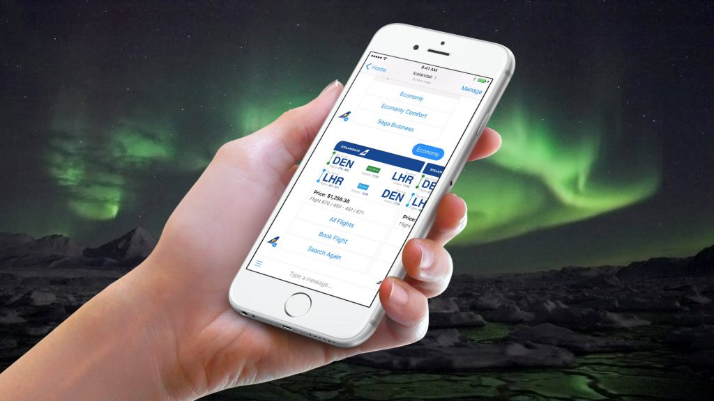 Icelandair via messenger Facebook