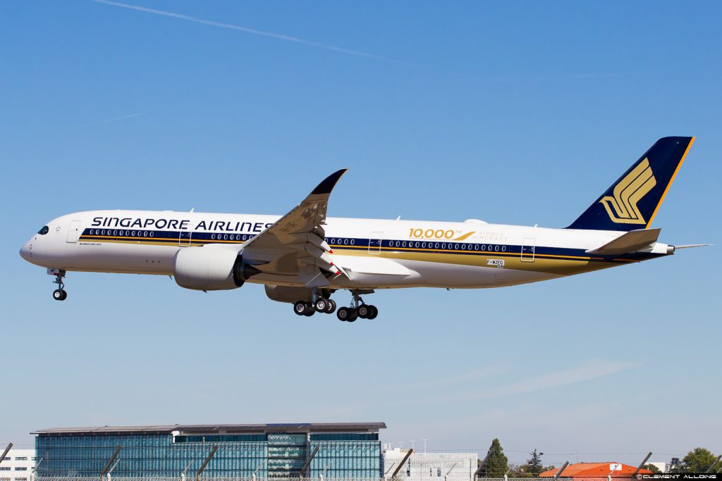 10 000 ème avion Airbus un A350 Singapore Airlines