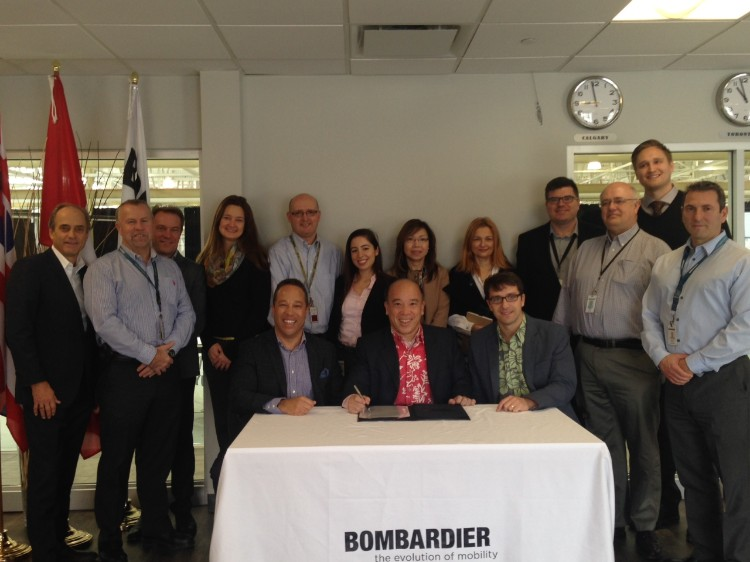 Membres des équipes de Bombardier, Island Air et Elix