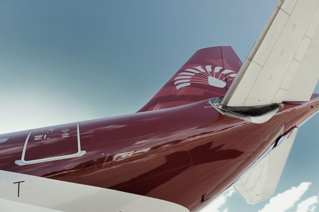 Le logo Air Madagascar sur l'empannage de l'Airbus A340