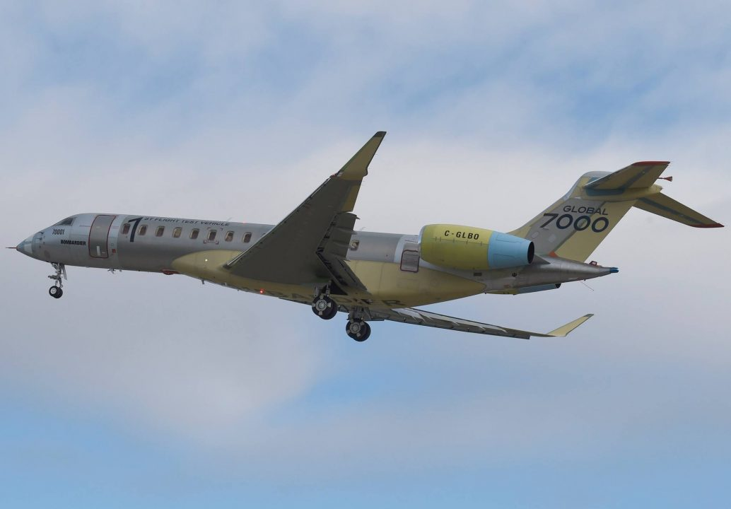 Global 7000 lors de son 1er vol test en novembre 2016