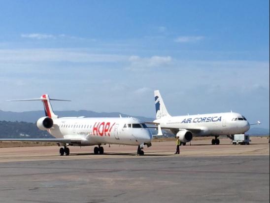 HOP! et Air Corsica sur le tarmac d'Ajaccio