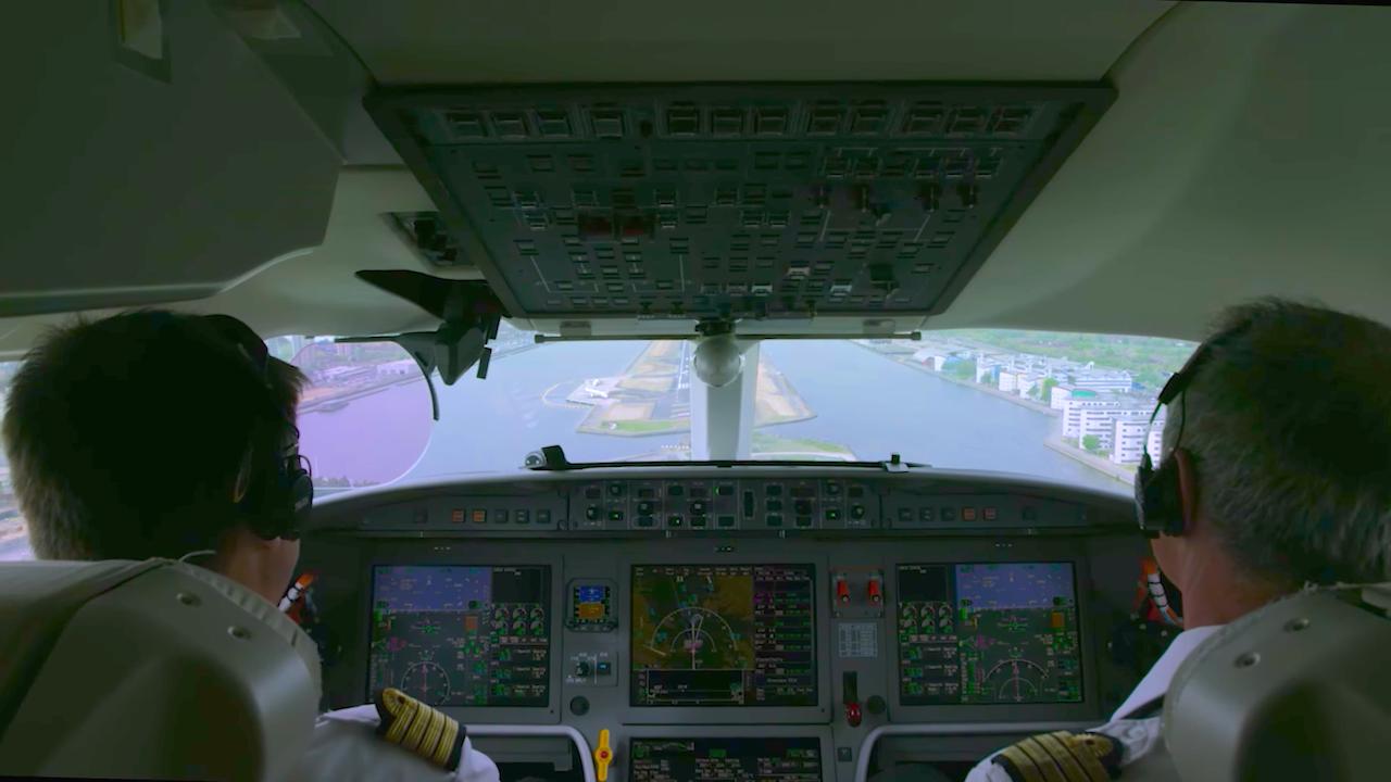 London City aproche depuis le cockpit du Falcon 8X