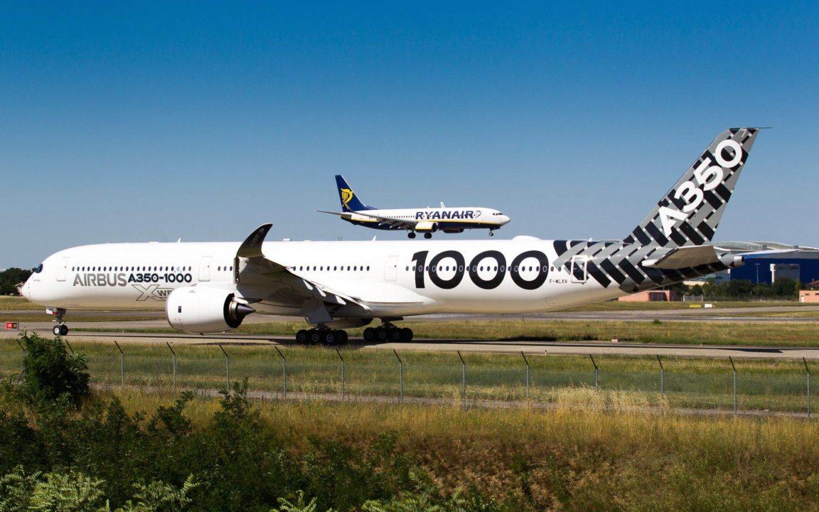 Airbus A350 MSN065 au départ pour le Bourget