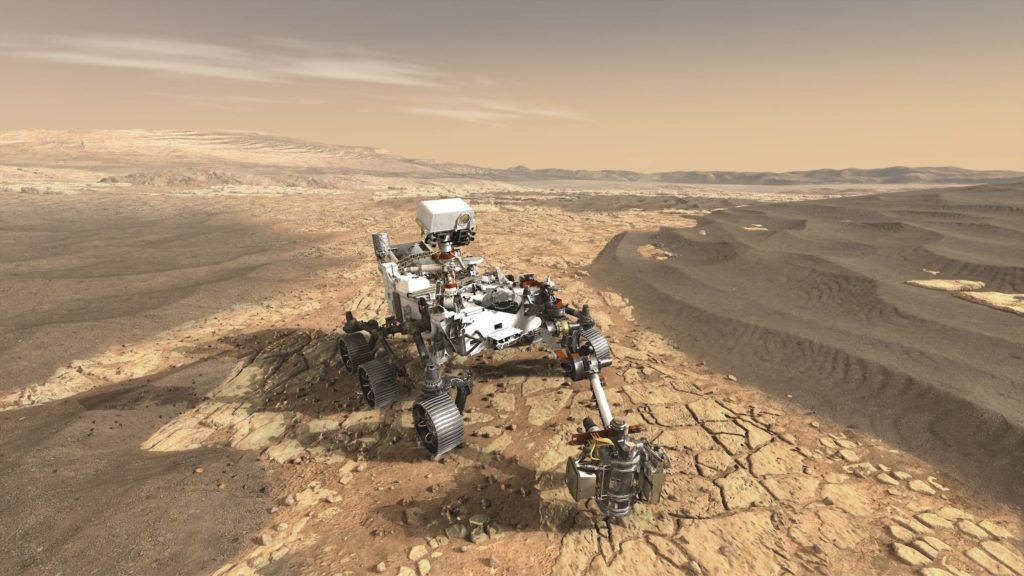 Illustration du robot Mars 2020 sur le sol de la planète Mars.