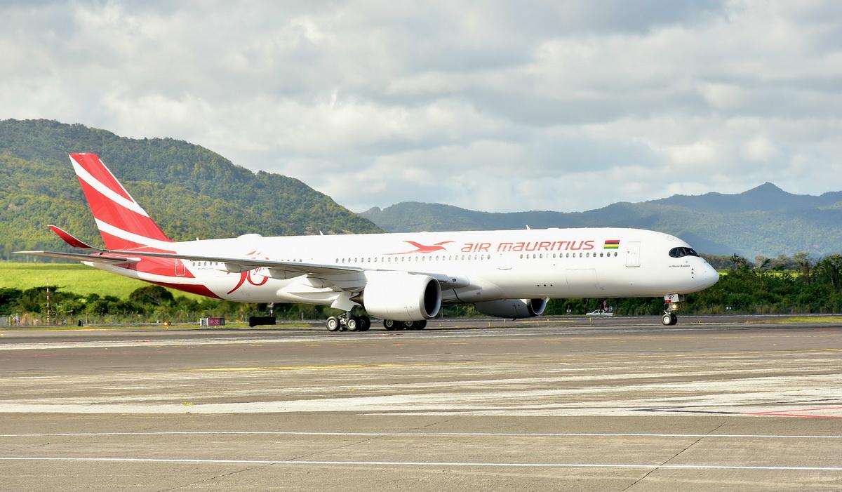 Arrivée de l'A350 Air Mauritius à Maurice