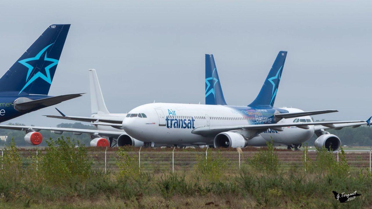 3 avions Air Transat positionnés sur le tarmac de Bordeaux-Mérignac dimanche 1er octobre