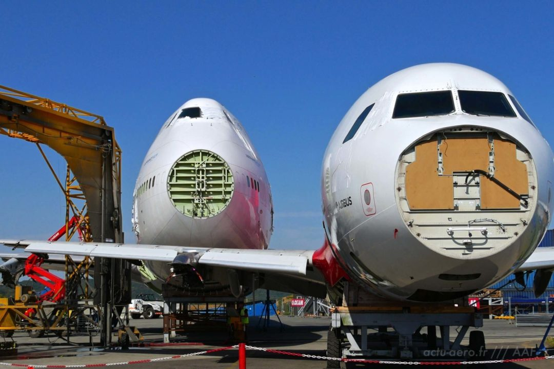 Carcasses de Boeing 747-400 et d'Airbus A320 à Tarbes