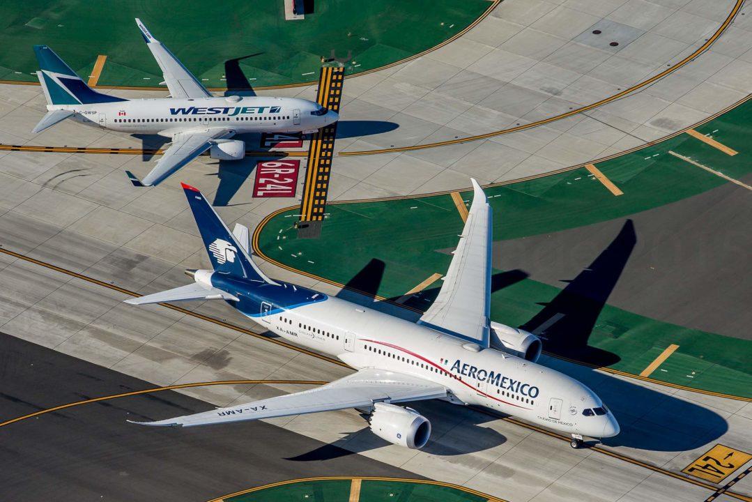 Aeromexico B787-8 Dreamliner XA-AMR / cn 36844 Seen behind is a Westjet Boeing 737-7CT(WL) C-GWSP / cn 36693