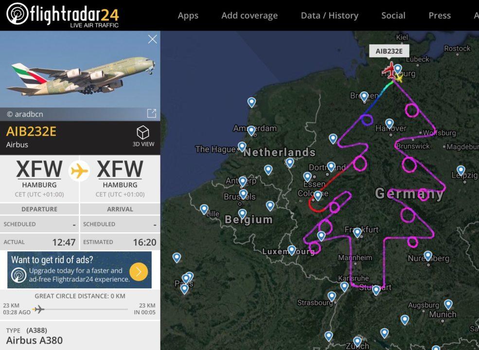 Tracé du sapin dans le ciel allemand par l'A380 d'essais