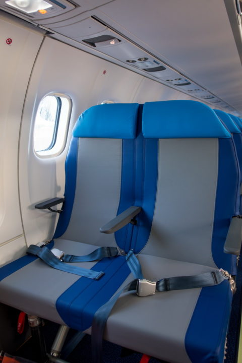intérieur de la cabine avec sièges en cuir du F-OSIV ATR 72-600 Air Caraïbes