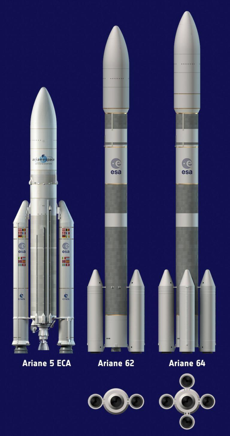 Les 2 versions du lanceur lourd Ariane 6 à côté d'Ariane 5