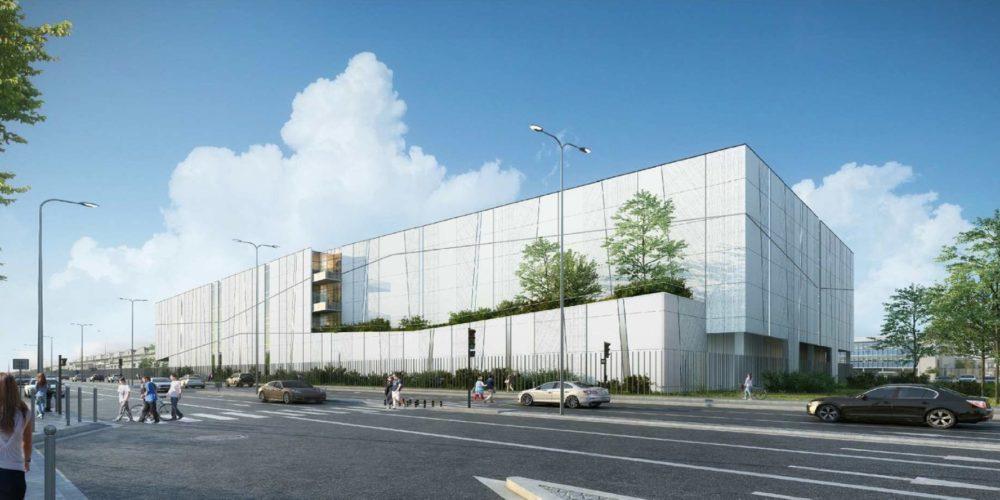 Perspective du futur centre de stockage et de conservation d'œuvres d'art