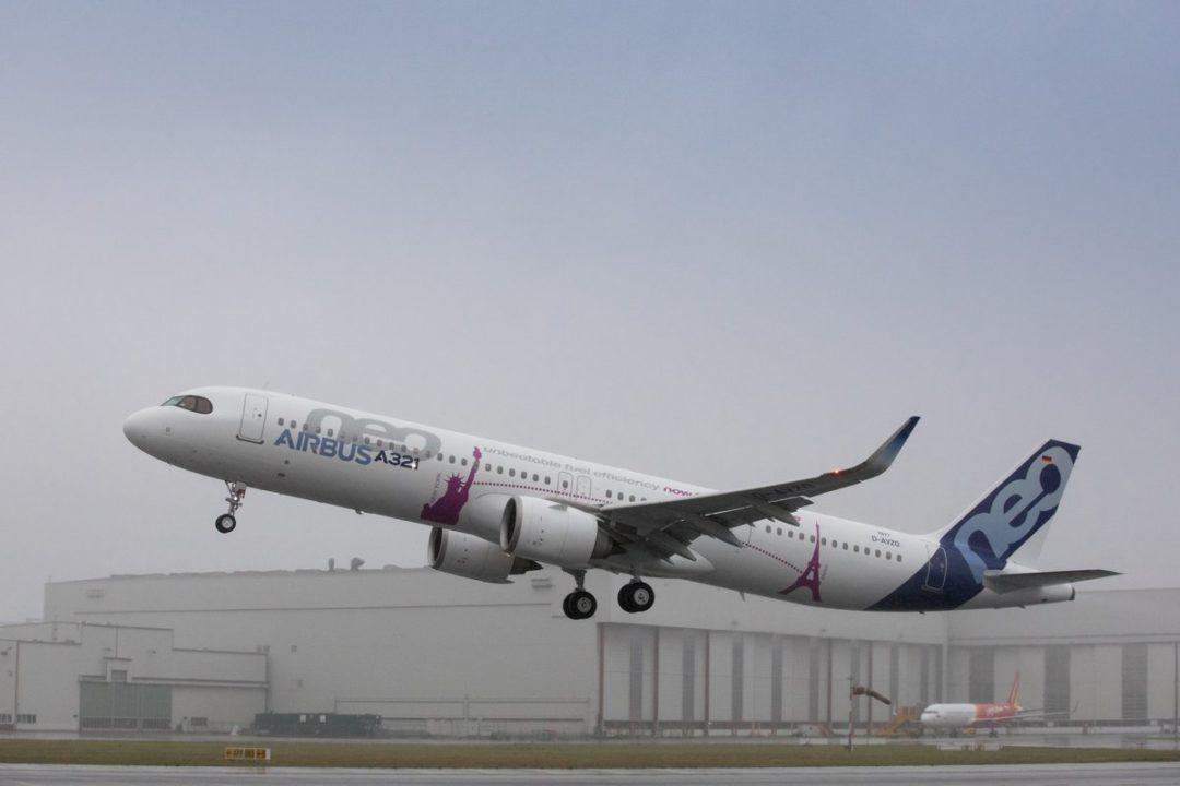 1er décollage de l'A321LR à Hambourg