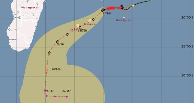 Trajectoire prévue du cyclone Berguitta