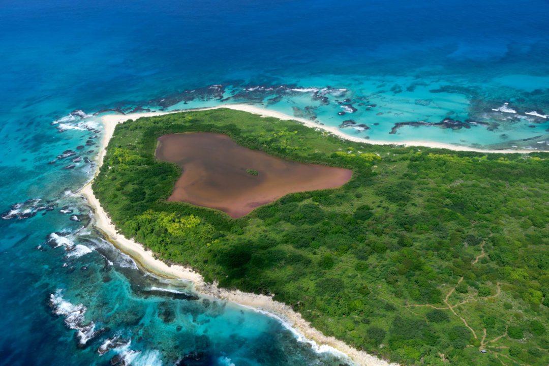 Paysage de Guadeloupe vue du ciel