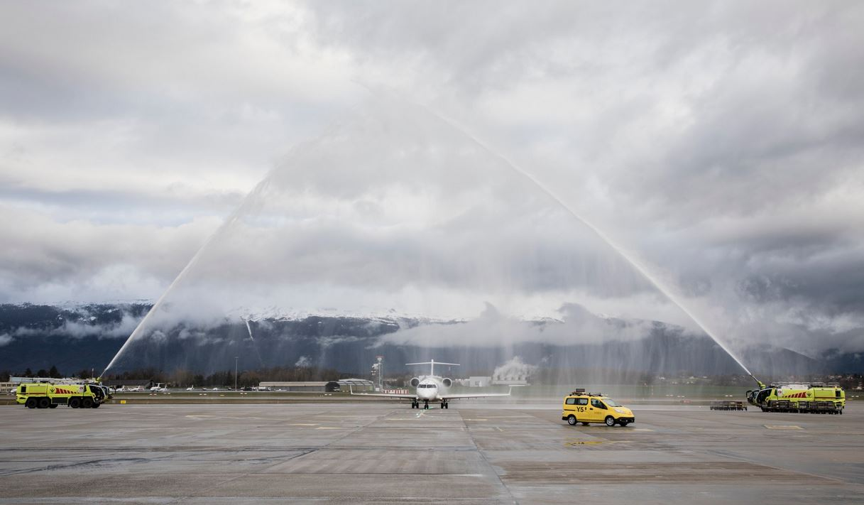Lancement du vol Genève-Ljubljana d'Adria Airways
