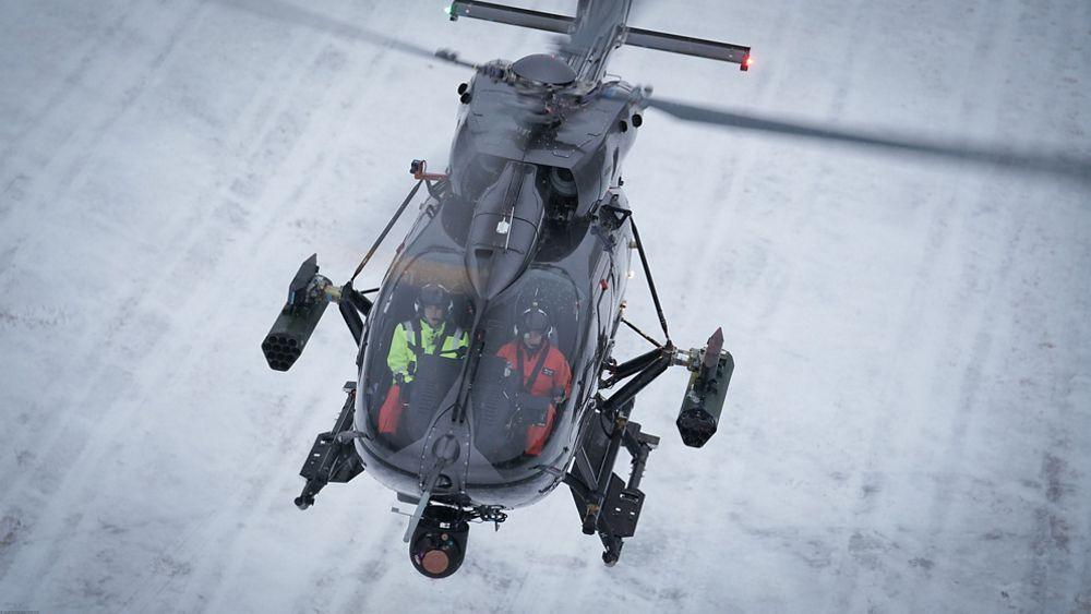Hélicoptère H145M pendant la campagne d'essais en Suede