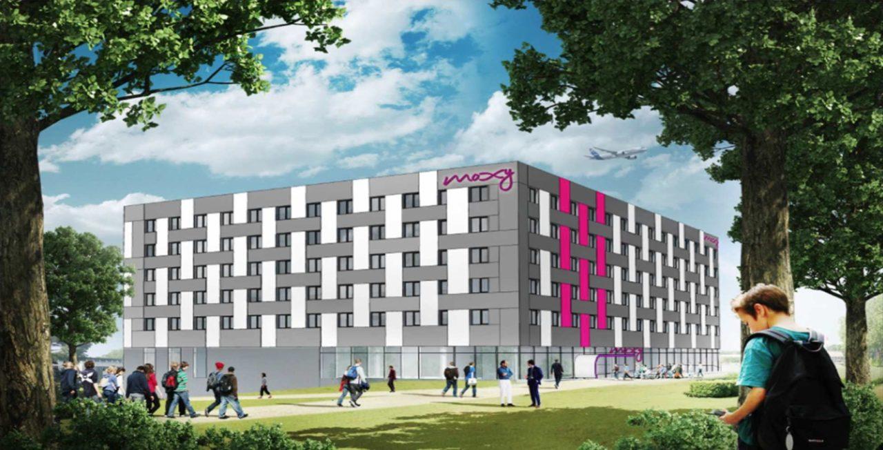 Perspective du futur hôtel Moxy dans le quartier Roissypole Ouest sur l'aéroport Paris-Charles de Gaulle