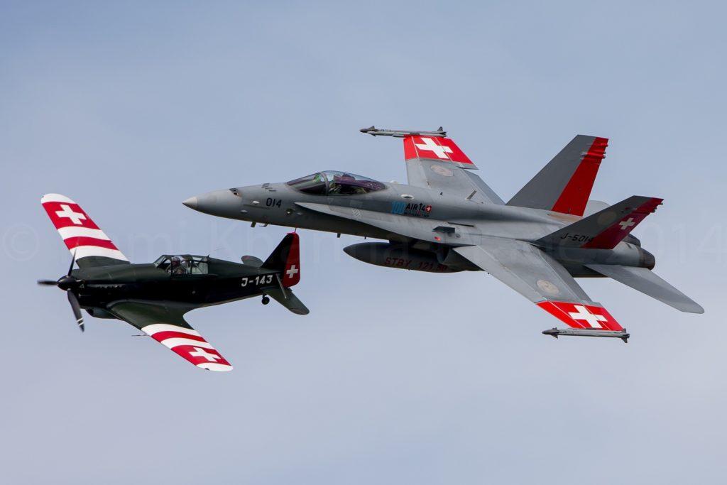 Swiss AF F/A18 Hornet & Morane-Saulnier MS.406