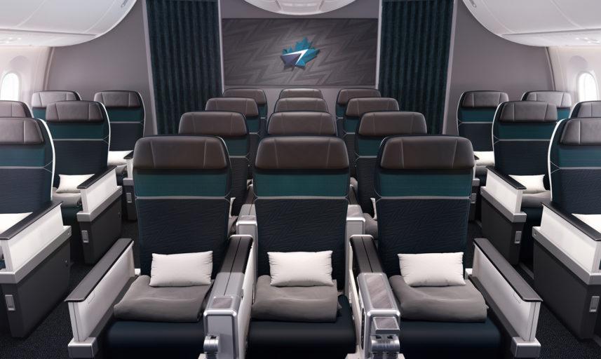 Classe Éco privilège Westjet, configurée en 2-3-2 avec 28 sièges