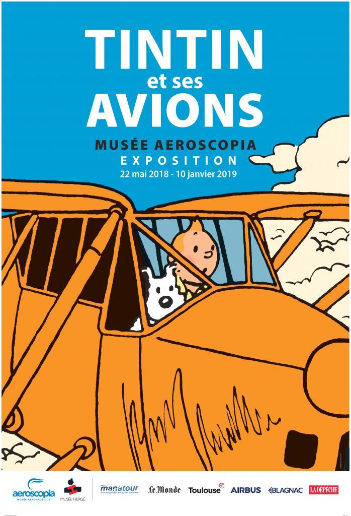 Affiche de l'exposition Tintin et ses Avions