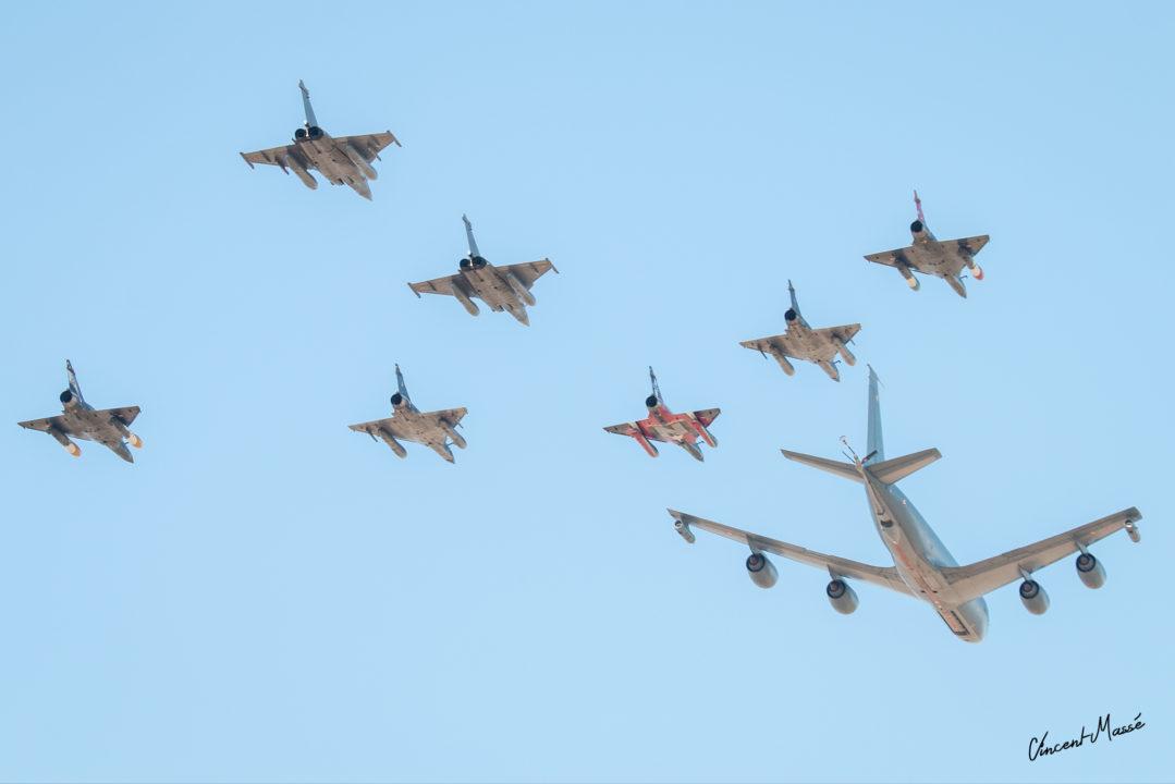 Patrouille de C135FR, 3 Mirage 2000N, 2 Mirage 2000D, 2 Rafale B