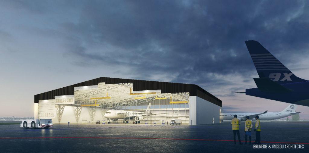 Vue du futur bâtiment de Bordeaux-Mérignac