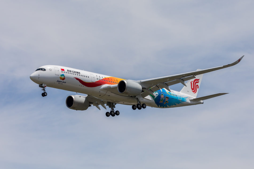 A350 Air China en approche sur l'aéroport de Toulouse Blagnac