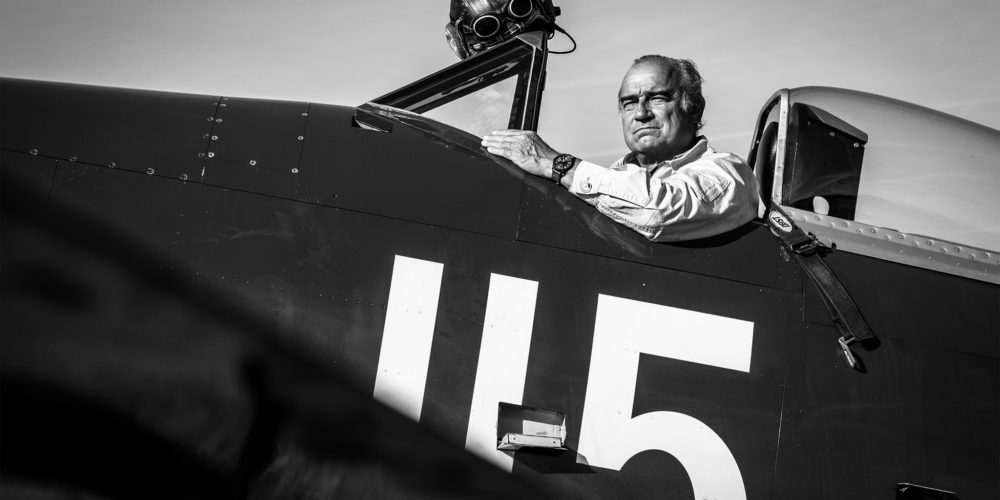 Christophe Jacquard dans son Hawker Sea Fury FB.11