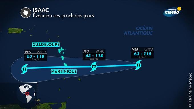 Trajectoire de la tempête tropicale ISSAC