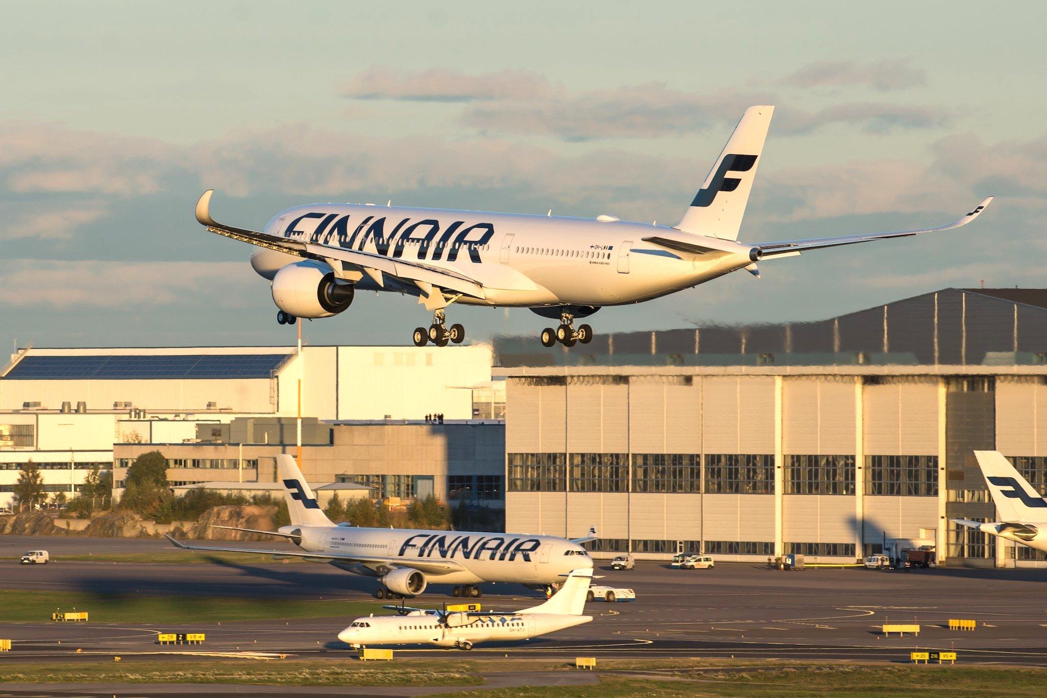 A350 Finnair à l'atterrissage à Helsinki