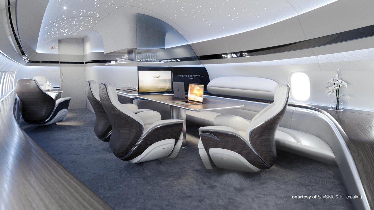 intérieur du BBJ MAX signé SkyStyle