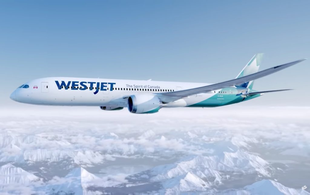 Vue 3D du futur Boeing 789 Westjet