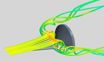 Écoulement du flux sur la sonde lors d'une incidence à 5°