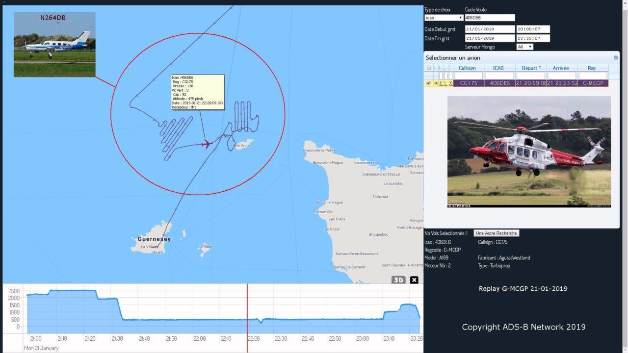 Tracé de l'hélicoptère G-MCGP des gardes côtes britanniques pour rechercher le PA46 N264DB