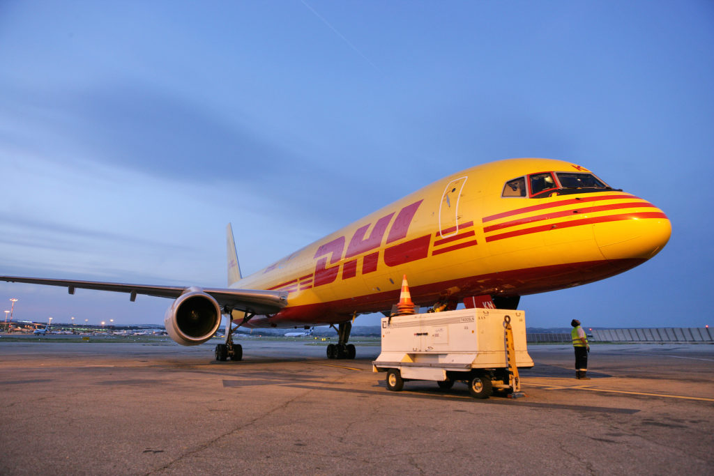 Boeing 757 DHL à l'arivée