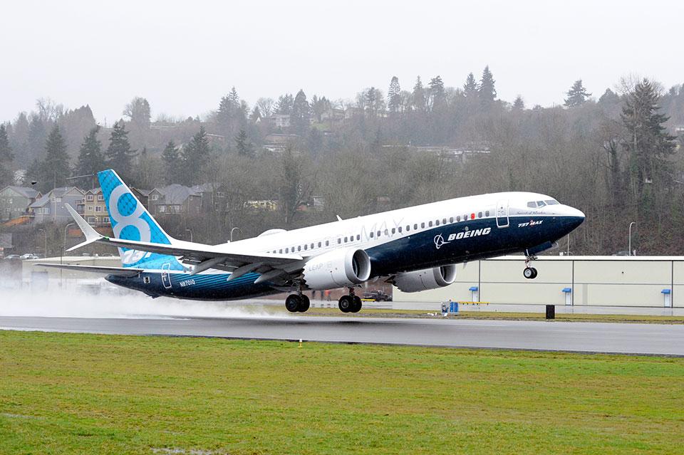 B737MAX 8 lors de son 1er vol en février 2016