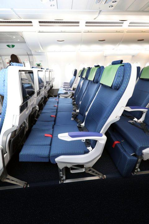 """Sièges Économique """"ANA Couchii"""" de l'A380 ANA « FLYING HONU »"""
