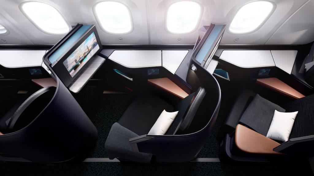 Classe Affaires Westjet, configurée en 1-2-1 avec 16 sièges-lit