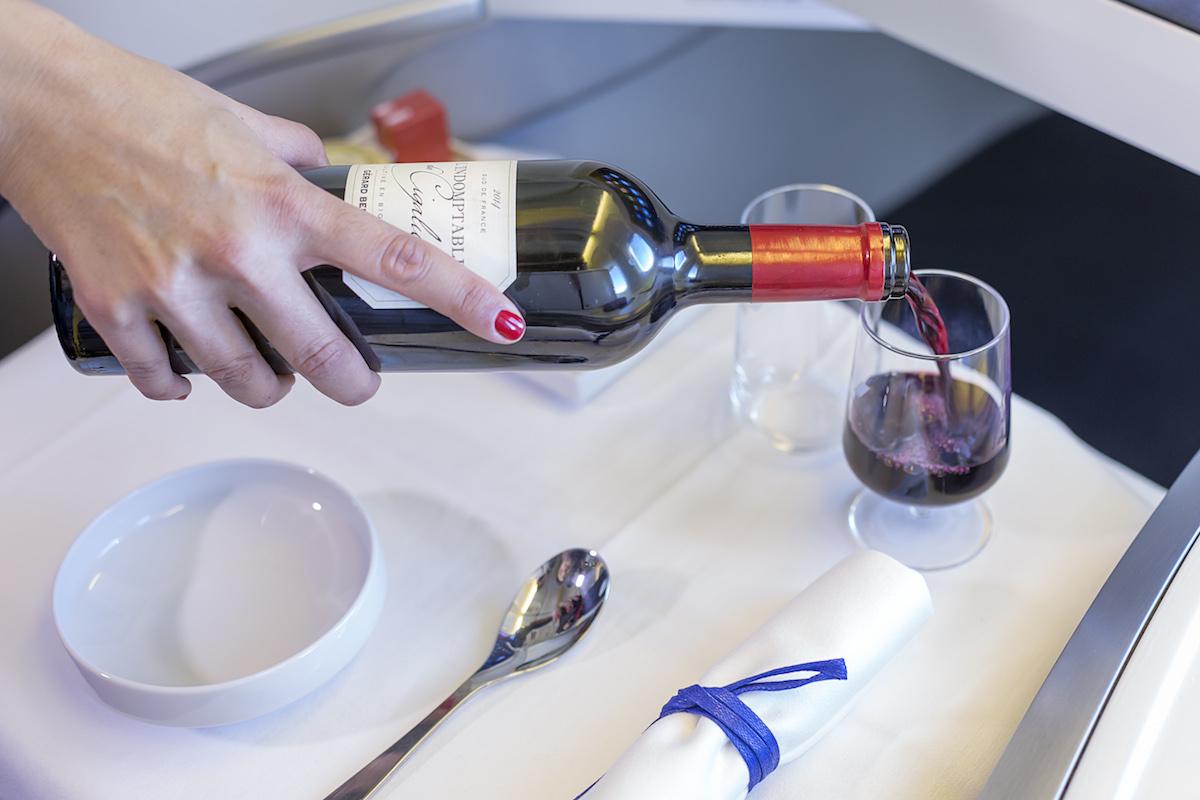 Service du vin en Business Air France