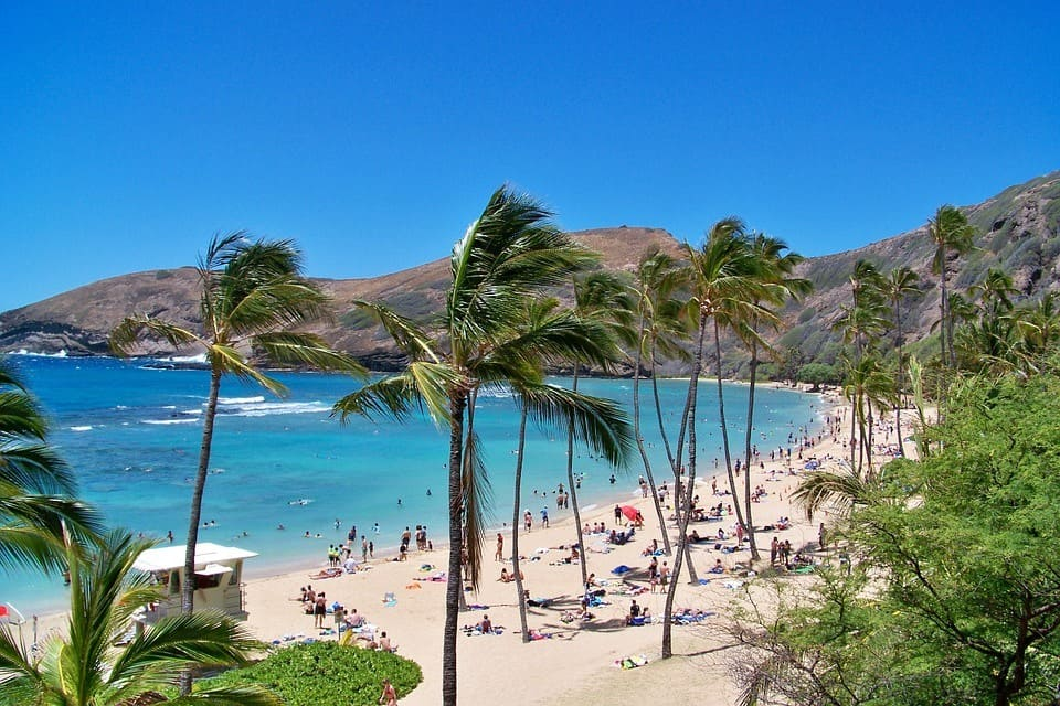 Plage de l'archipel volcanique d'Hawai