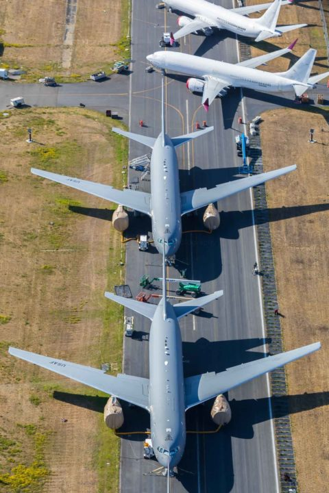 KC-46 Pegasus et B737 MAX parqués à Being Field, à Everett (photo août 2019)