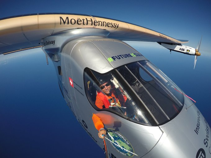 André Borschberg à bord du Solar Impulse 2
