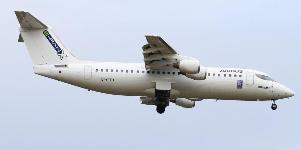 Avro RJ100 G-WEFX Airbus E-FAN X